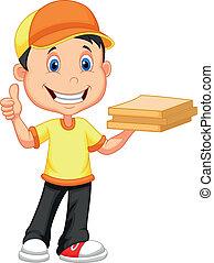 Delivery boy cartoon bringing a car