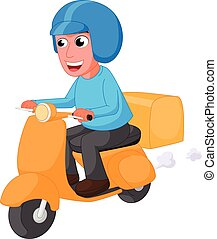 Delivery man cartoon with scooter