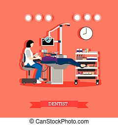 Vector illustration of dentist and patient in dental clinic