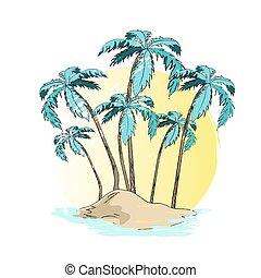 Vector Illustration of Desert Island Palm Trees