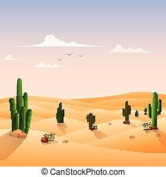 Desert landscape background with cactuses