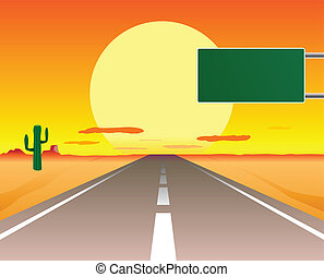 desert road - vector illustration of desert road in the...