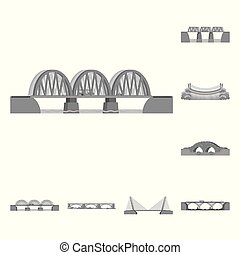 Vector illustration of design and construct sign. Set of design and bridge vector icon for stock.