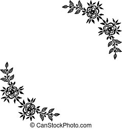 Vector illustration of design element with drawing flower frame