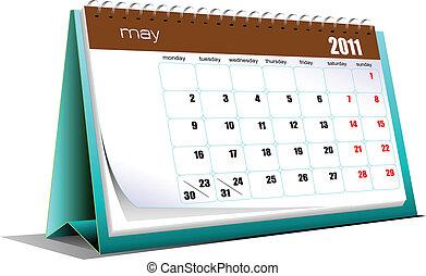 Vector illustration of desk calendar. Months. Holidays