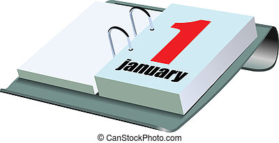 Vector illustration of desk calendar. 1 january