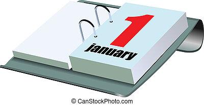Vector illustration of desk calendar. 1 january