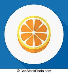 Vector Illustration Of Dessert Symbol On Orange Flat Icon. Premium Quality Isolated Mandarins Element In Trendy Flat Style.