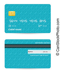 vector illustration of detailed credit card with hipster...