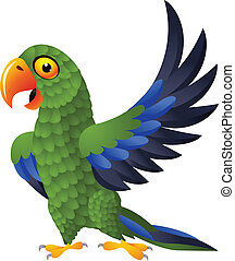Detailed funny green parrot cartoon