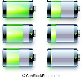 Vector illustration of detailed glossy battery level indicator icons