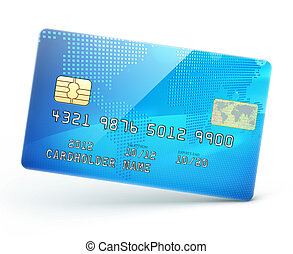 credit card - Vector illustration of detailed glossy blue...