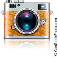 Vector illustration of detailed icon representing retro style camera