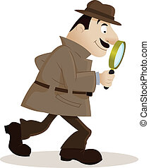 Detective with magnifying glass - Vector Illustration Of...