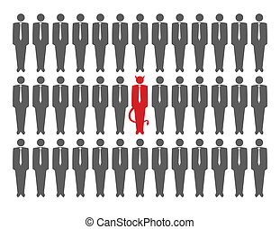 Vector illustration of devil in crowd