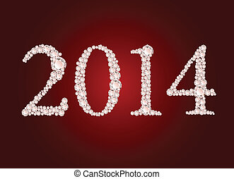 Vector illustration of diamond 2014 year