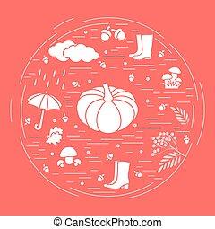 Vector illustration of different autumn seasonal symbols.