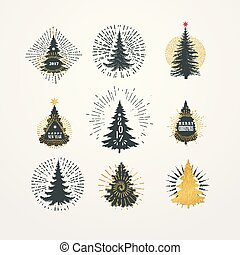 Vector illustration of different christmas trees with starburst