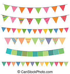 Vector Illustration of different Colorful Garlands