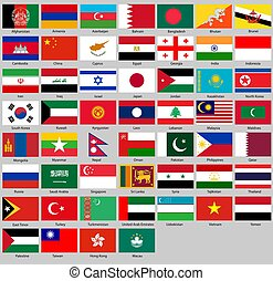 Vector illustration of different countries flags set