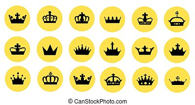 Vector illustration of different crowns