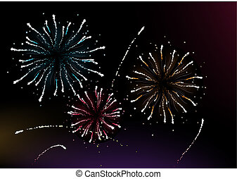 different fireworks - Vector illustration of different...
