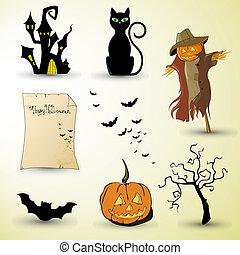 halloween elements - vector illustration of different...