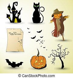 halloween elements - vector illustration of different...