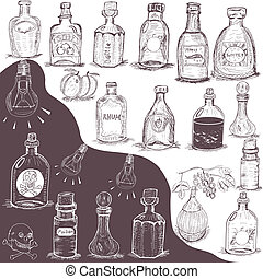 hand drawn bottles - Vector illustration of different hand...