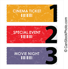 vector illustration  of different movie tickets