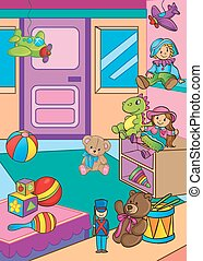 Vector Illustration Of Different Toys In Shop