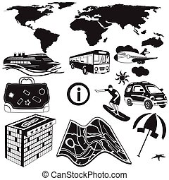 travel black icons