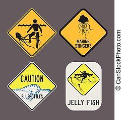 Jellyfish caution signs