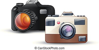 Digital photo camera on white background