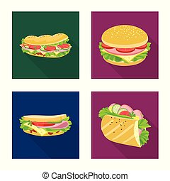 Isolated object of dinner and cuisine icon. Set of dinner and breakfast stock vector illustration.
