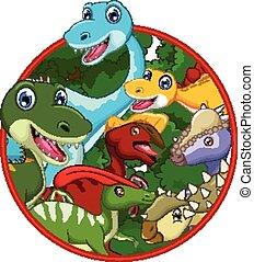 Dinosaur cartoon with landscape