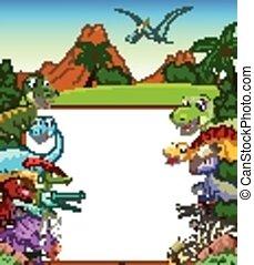 Dinosaur cartoon with sign