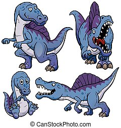 Dinosaur - Vector illustration of Dinosaurs Cartoon...
