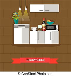 Vector illustration of dishwasher, kitchen interior in flat style