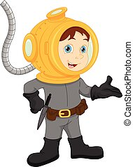 diver boy posing - vector illustration of diver boy posing