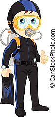 diver boy thumb up