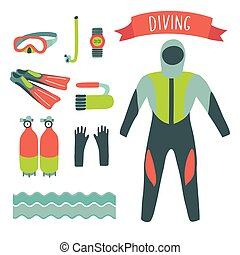 Vector illustration of diving elements set on white isolation background