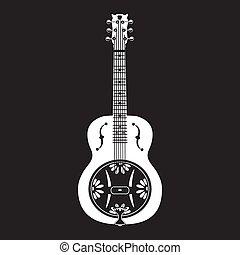 Vector illustration of dobro, american resonator guitar white template on black background.