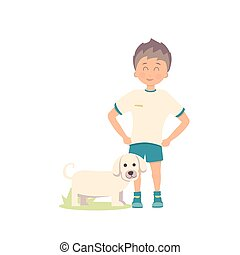 vector illustration of dog and boy on white background
