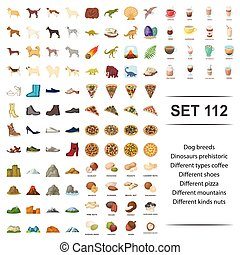 Vector illustration of dog, breed, dinosaur, prehistoric, different type coffee shoes pizza mountains nut icon set.