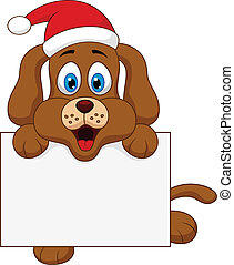 dog cartoon christmas with blank si - vector illustration of...