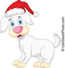 Dog cartoon with christmas hat