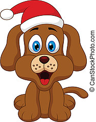 dog cartoon with Christmas red hat