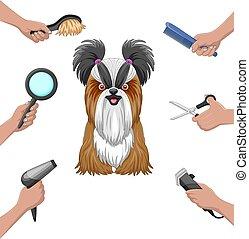Dog grooming collection set cartoon