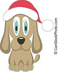 Vector illustration of dog in red Christmas hat